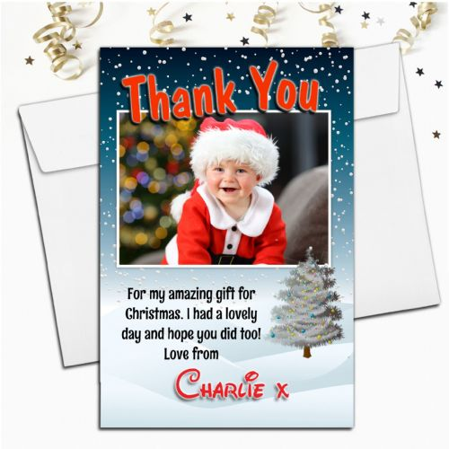 10 Personalised Christmas Xmas Thank you PHOTO Cards N33